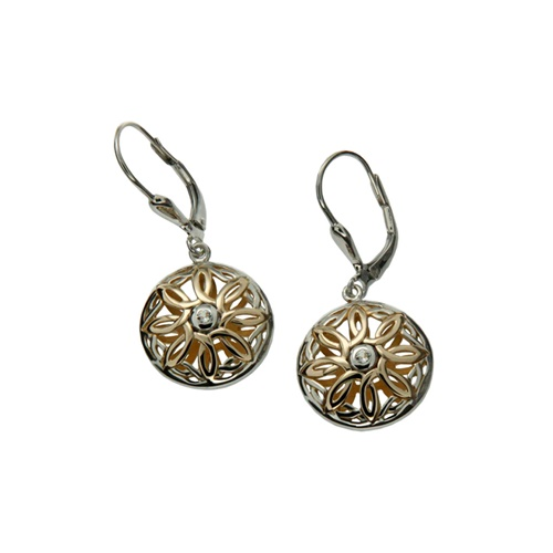 Image for Keith Jack Compass Collection Sterling Silver Earrings with 10k Yellow Gold and White Topaz