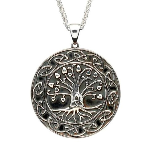 Image for Shanore Sterling Silver Tree Of Life Trinity Medallion Pendant, Large