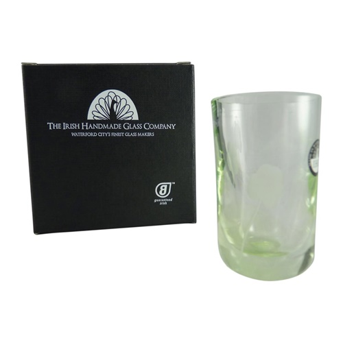 Image for Irish Handmade Shamrock Shot or Pill Glass