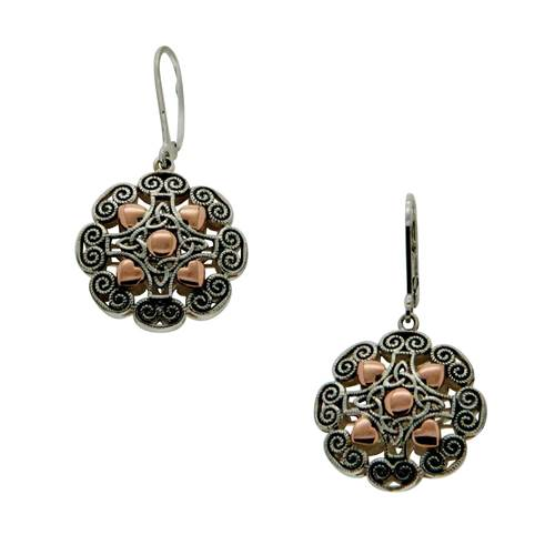 Image for Keith Jack Sterling Silver and 10k Rose Gold Drop Lever Back Earrings