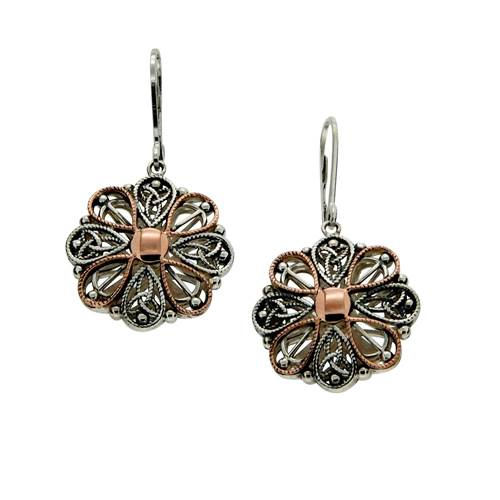Keith Jack Sterling Silver with 10k Rose Gold Drop Lever Back Earrings