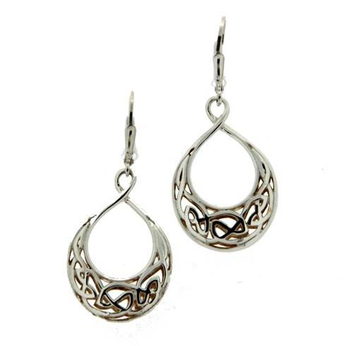 Keith Jack Celtic Window To The Soul Earrings Sterling Silver and 24K Gold Tear Drop Earrings