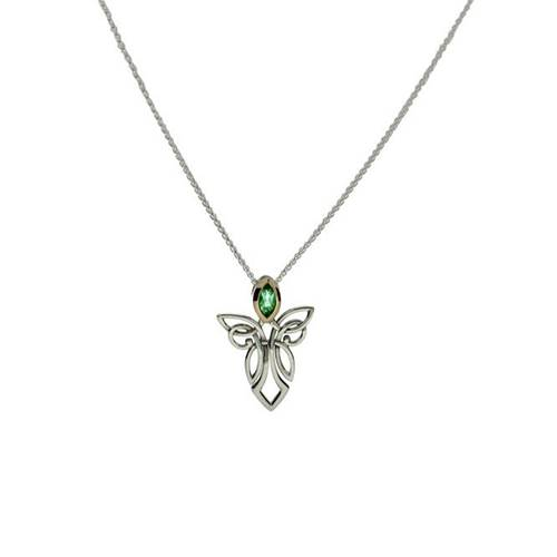 Sterling Silver and 10K Yellow Gold with Peridot Guardian Angels Pendant