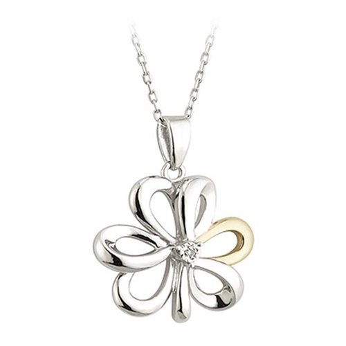 Image for Silver and Gold Diamond Shamrock Pendant