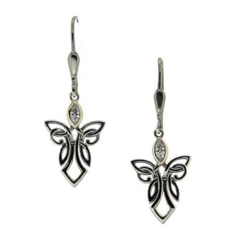 Keith Jack Guardian Angels Sterling Silver Earrings with 10k Yellow Gold and White Cubic Zirconia