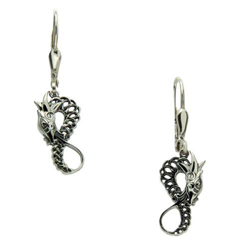 Keith Jack Sterling Silver Dragon Leverback Earrings