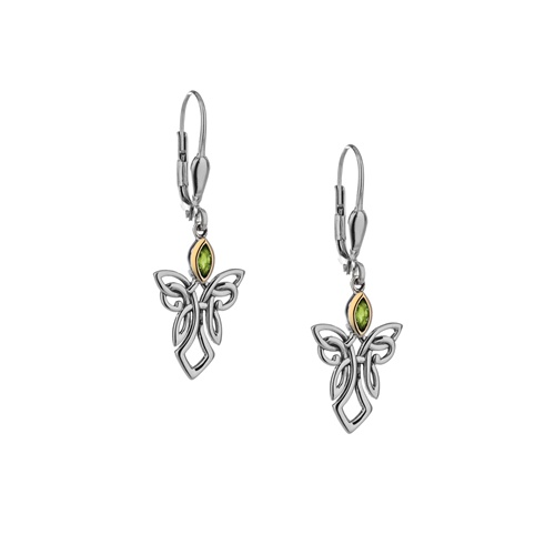 Keith Jack Guardian Angels Sterling Silver Earrings with 10k Yellow Gold and Peridot